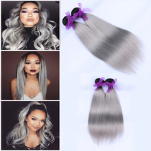 Brazilian Virgin Ombre Hair Straight 7a Unprocessed Human Gray Hair Bundle Straight Weave 2pcs Brazilian Straight