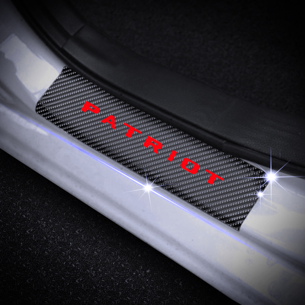 4D Carbon Fiber Vinyl Sticker For JEEP Patriot Car Door Sill Protector Door Step Plate Protector Interior Car Accessories 4Pcs in Car Stickers from Automobiles Motorcycles