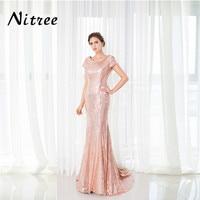 Fancy Rose Red Paillettes Prom Dresses 2018 Robe de soiree Turco Caftano Dubai Avondjurk Formale Abiti Da Sera Abiti Per Matrimoni