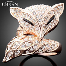Chran Lovely Fox Design Ladies Finger Rings Elegant Crystal Gold Tone Vintage for Women