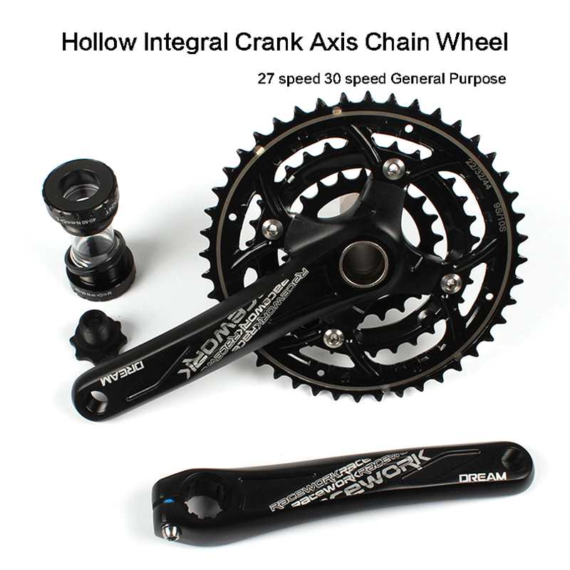 Racework bicycle Crank & Chainwheel MTB mountain bike crank 170mm Al-alloy chainwheel 104 BCD CrMo steel 22-32-44T 27/30 speed aluminum alloy bicycle crank chain wheel mountain bike inner bearing crank fluted disc mtb 104bcd bike part