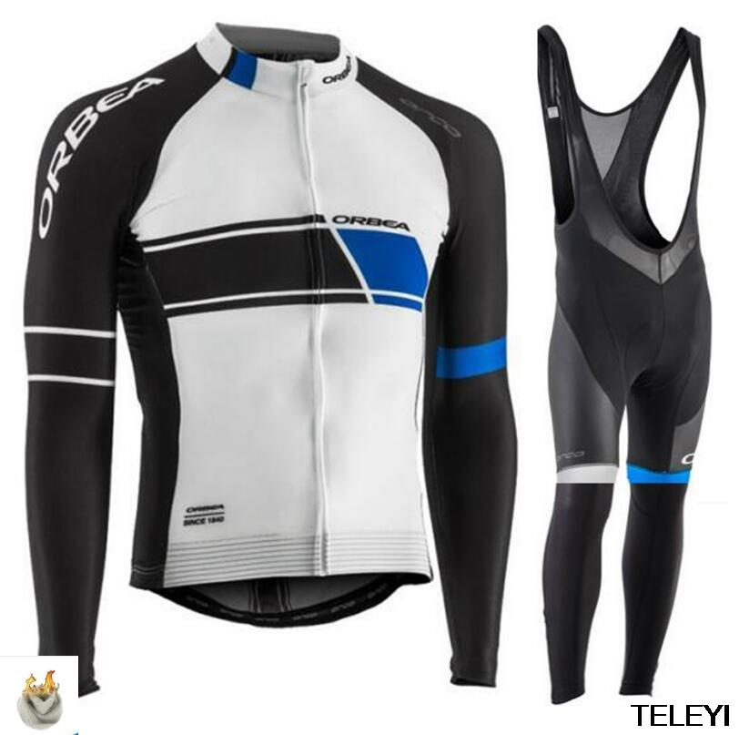 2017 ORBEA Team Winter Thermal Fleece Cycling Jersey Set Ropa Maillot Ciclismo Outdoor Sport Coat Clothing Bib Suit mavic winter thermal fleece bicycle clothing bib set men s long sleeves cycling jersey warm outdoor sport coat suit 9d gel pad