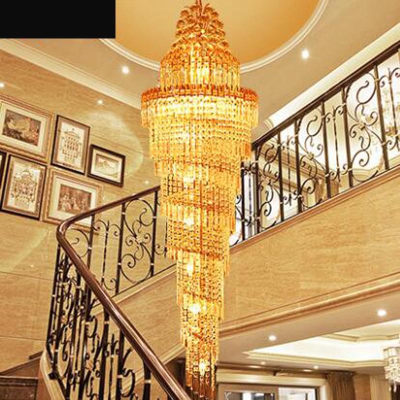 Staircase chandelier double staircase lamp long chandelier luxury villa staircase crystal lamp modern minimalist living room LED золотое кольцо ювелирное изделие k 24022