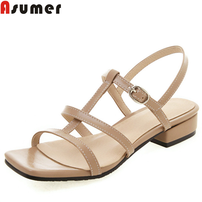 ASUMER large size 34-46 summer sandals for women buckle square heels ladies shoes casual low heels gladiator sandals women 2019ASUMER large size 34-46 summer sandals for women buckle square heels ladies shoes casual low heels gladiator sandals women 2019