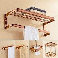 Rose Gold Copper Bathroom Rack Towel Rack European Towel Holder Bathroom Bathroom Rack Bathroom Hardware Pendant Set Soap Dish