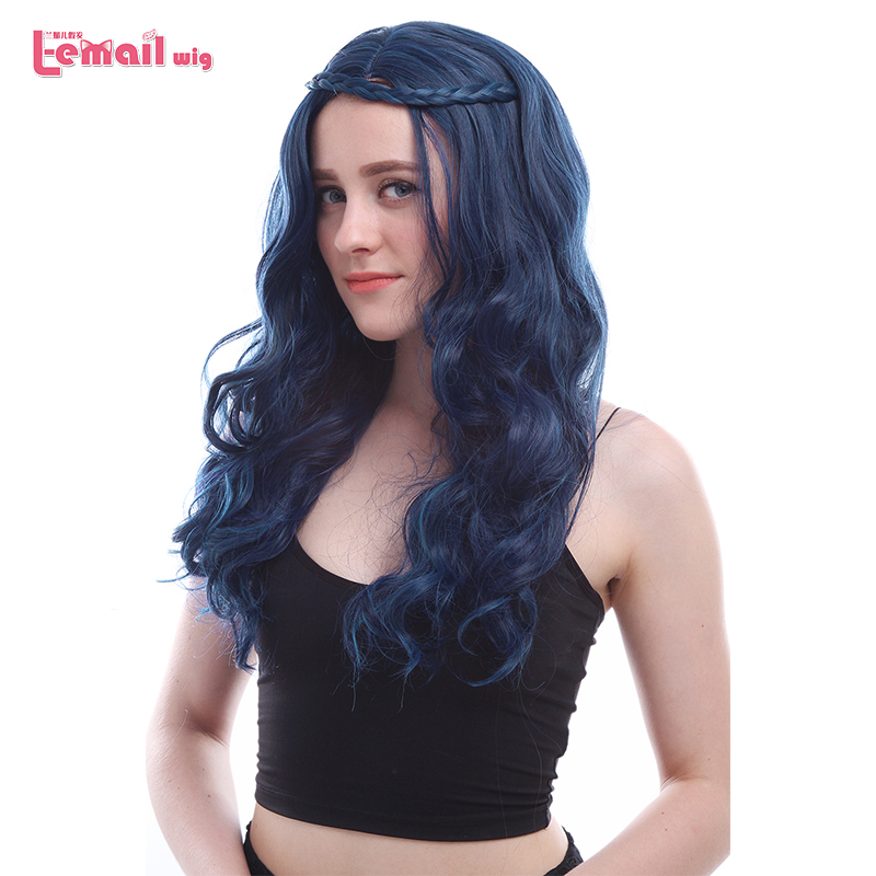 L-email Wig New Movie Evie Character Cosplay Wigs 60cm Long Wavy Braid Hair Heat Resistant Synthetic Hair Perucas Cosplay Wig
