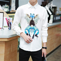Personalized exquisite digital printing high-quality long-sleeved shirt 2016 Autumn new arrival fashion casual men shirt M-5XL