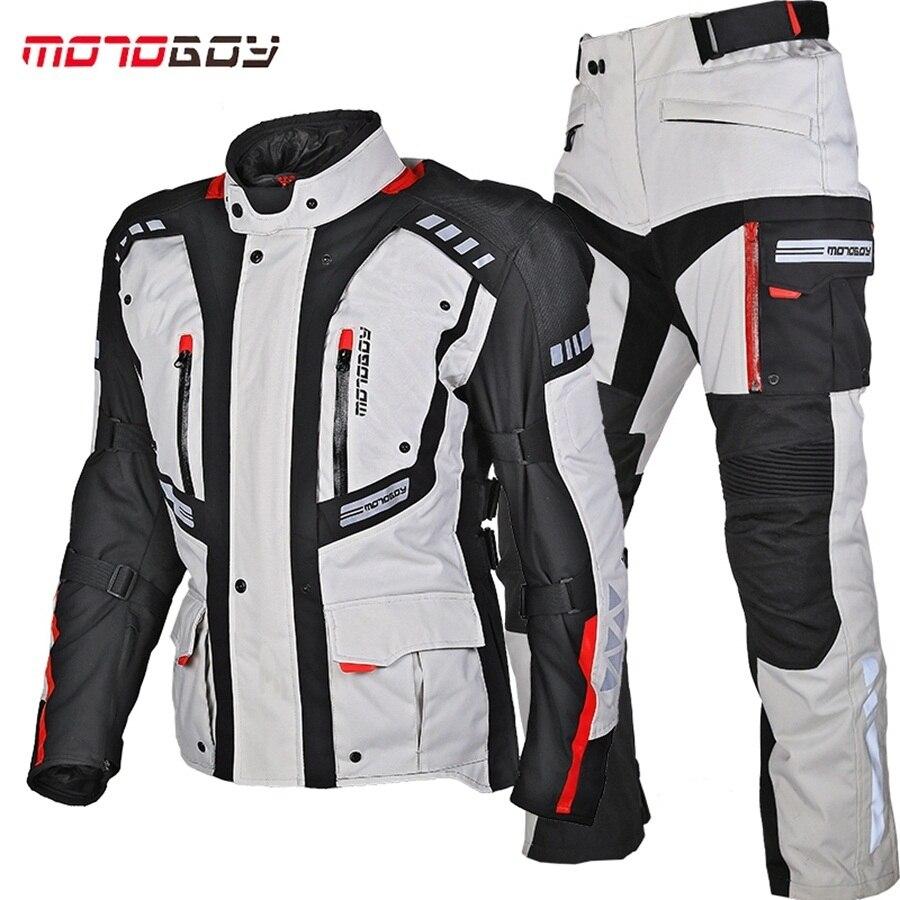 Livraison gratuite 1 set MOTOBOY Motocross Moto tout-terrain armure imperméable coupe-vent doublure en duvet veste et pantalon de Moto réfléchissants