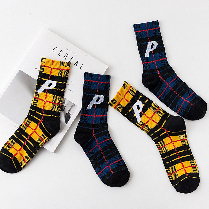 Unisex Original Design Letter P Men and Women Street Skateboard Socks Hong Kong Wind Tide Socks Personality Cotton Socks