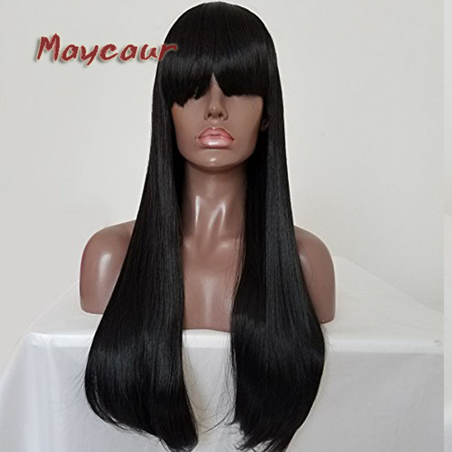 Long Straight Wigs with Full Bangs Black Synthetic None Lace Wigs High Temperature Fiber ...