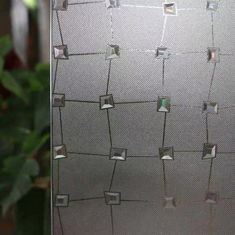 90 200cm Privacy Window Film 3D Diamond Decorative Film Electrostatic Anti UV Heat Control Glass Stickers Office door Home Decor in Decorative Films from Home Garden