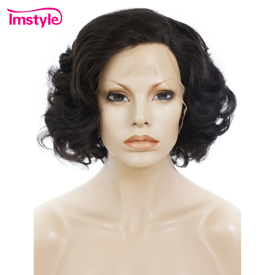 Imstyle Lace Front Wig Wavy Dark Brown Short Wigs For Women Heat Resistant Fiber Synthetic Lace Wig Natural Hair 10 inch Cosplay