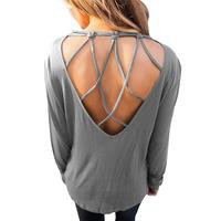 Autumn 2017 T Shirt Women Fashion Backless Tops Open Back Sexy Casual T Shirts Female Tops