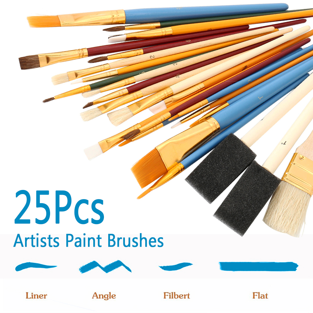 Painting Supplies Super Value 24pcs Mix Size Oil Acrylic Brush Se With Canvas Bag Long Wooden Handle Multifunction Brush Art Supplies