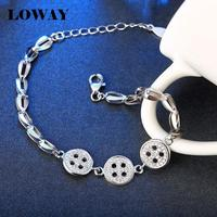 LOWAY Brand Special Design Button 925 Sterling Silver Fashion Bracelets For Women 20cm Good Quality Jewelry