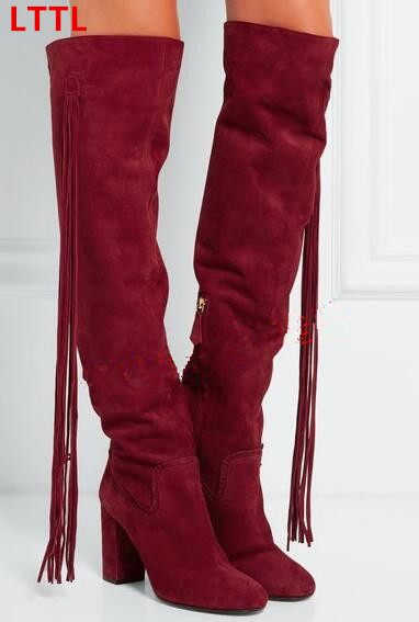New square high heels over the knee high motorcycle boots for women wine red long tassels fall winter long boots size 35-42