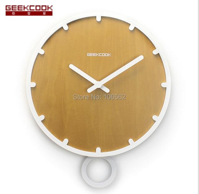 Hot Home decoration living room Swing solid wood pendulum wall clock ...
