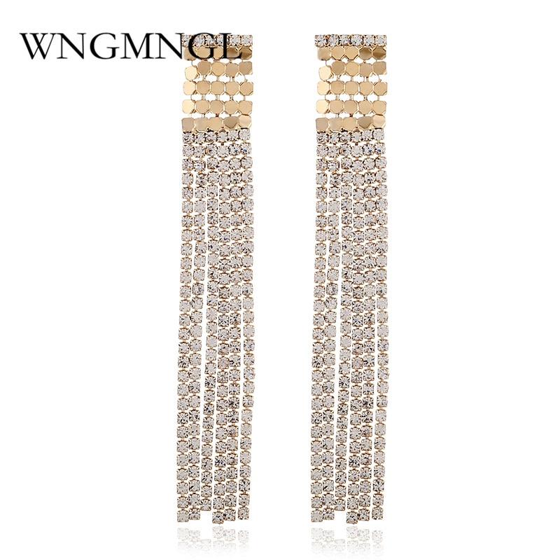 WNGMNGL New Fashion Metal Rhinestone Tassel Earrings Long For Women Dangle Female Jewelry Accessories Gift