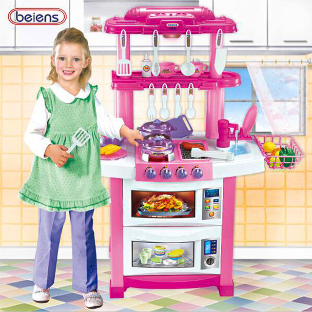 Lovely Beiens Large Size Children Play Toy Girl Music Baby Toy Kitchen Cooking DIY  Simulation Model With