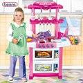Beiens tamanho grande children play toy menina música brinquedo do bebê cozinha cozinhar diy modelo de simulação com caixa original
