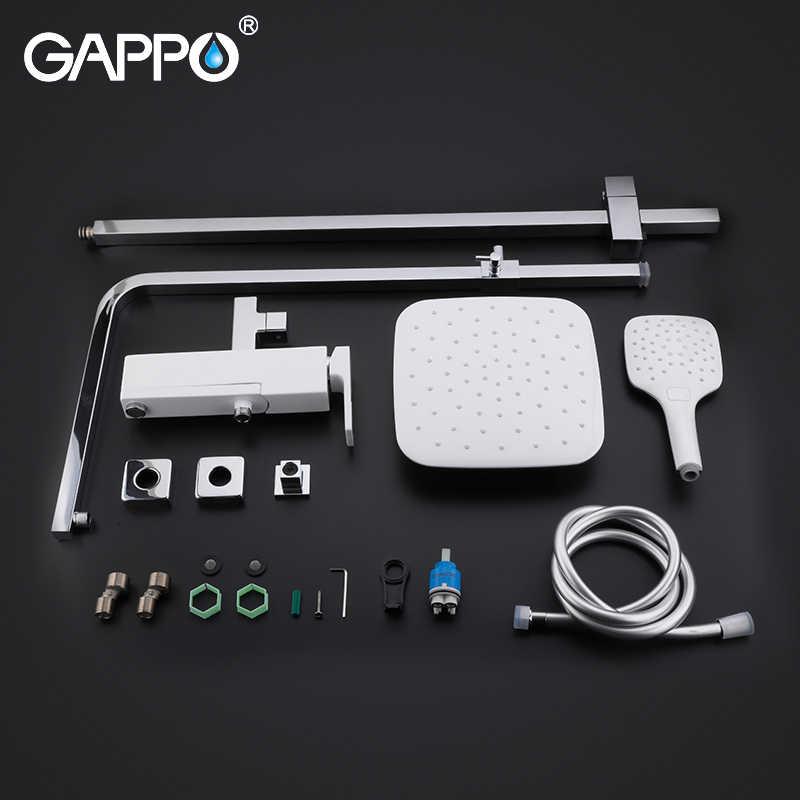GAPPOฝักบัวก๊อกน้ำทองเหลืองห้องน้ำชุดฝักบัวติดผนังหัวฝักบัวChrome Bath Mixerก๊อกน้ำห้องอาบน้ำฝักบัว