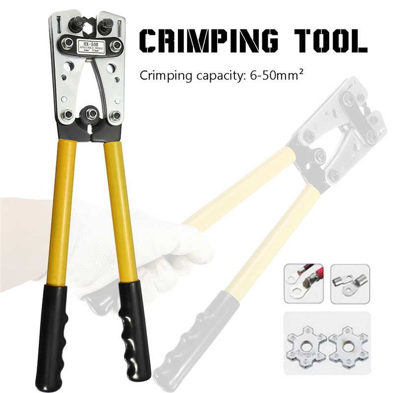 620mm Plug Portable Handle Crimp Crimping Tool Battery Cable Lug Hex Terminal Crimper T0077  Crimping Plier dwz new 6 50mm lx 50b wire terminal crimper tool cable lug crimping plier connector