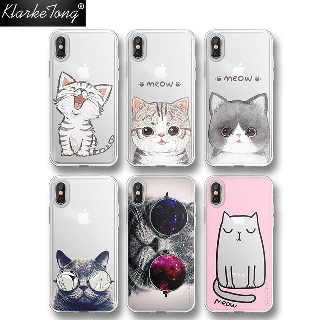 d93144fd016a KlarkeTong Cute Meow Animal Cool Cat Phone Case For iPhone 8 7 6 Plus X  Transparent Silicone Soft Clear Cats Back Cover Capa