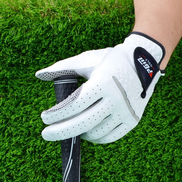 Men's Genuine Leather Golf Gloves Left Right Hand Soft Breathable Pure Sheepskin With Anti-slip granules mitten