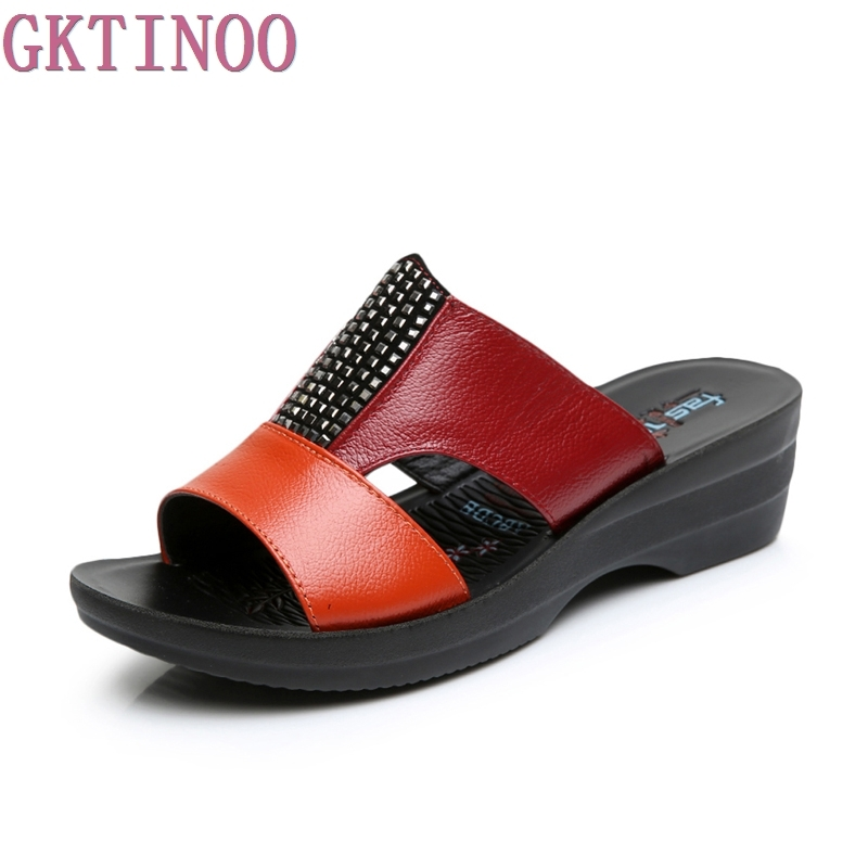 2018 Women Summer Slippers Genuine Leather women wedges sandals slip-on round toe summer shoes woman comfortable sandals SE6098 fashion woman sandals 2018 summer shoes women casual comfortable wedges open toe sandals women s sandals national style shoes