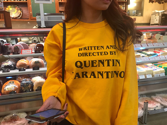 Written And Directed Quentin Tarantino Sweatshirt Spring Tops Casual High Quality Cotton Yellow Jumper Tarantino Grunge Crewneck
