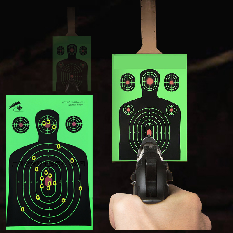 "25 PCS Target Shooting 12""x18"" Silhouette Splatter Reactiveb Target Paper Targets Fluorescent Green For Gun or Archery Shooting"