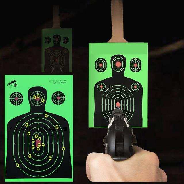 "25 PCS Target Shooting 12""x18"" Silhouette Splatter Reactiveb Target Paper Targets Fluorescent Green For Gun or Archery Shooting"
