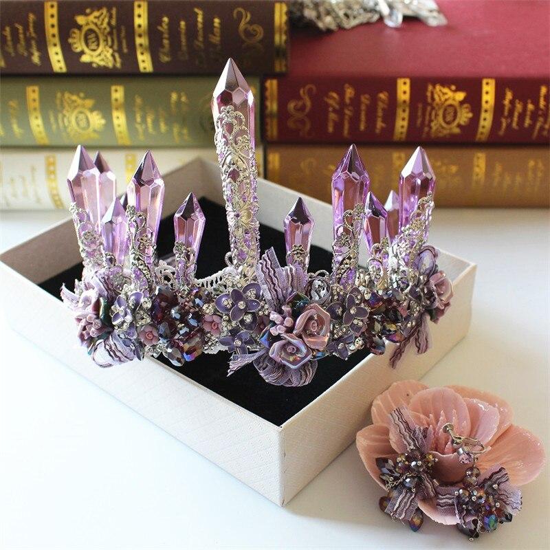 Continental rétro cristal couronne couronne de reine mariée robe de mariée photo studio chapeaux accessoires