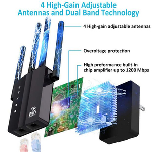 Image 4 - KuWFi 1200Mbps WiFi Repeater with 4 External Antennas, 2 Ethernet Ports, 2.4 & 5GHz Dual Band Signal Booster Full Coverage WiFi