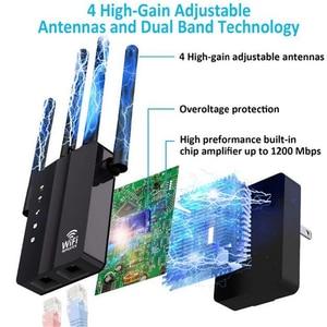 Image 4 - Kuwfi 1200 mbps wifi repetidor com 4 antenas externas, 2 portas ethernet, 2.4 & 5 ghz dupla faixa impulsionador de sinal cobertura completa wi fi