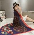 Nueva marca Bufanda de Seda de Las Mujeres Del Diseñador de Moda Marca Bufandas Sjaal Mantones Casual Imprimir Fulares Femme Lujo