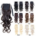 Мода женская Ponytail Шиньоны синтетические наращивание волос конский хвост вьющиеся хвост блондинка волнистые хвост бесплатная доставка