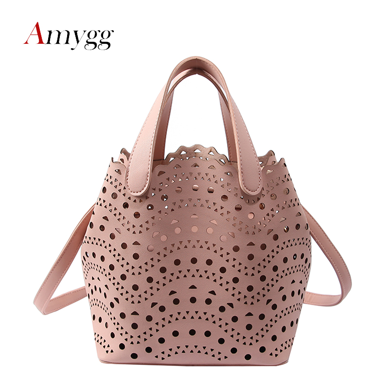 Summer Women Dot Hollow Out Casual Tote Lady Composite Bag H