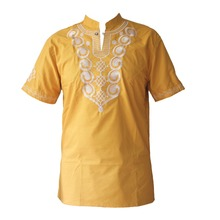 Africa Ethnic Embroidery Tops Men`s Dashiki Yellow Kwanzaa Shirts foe Male