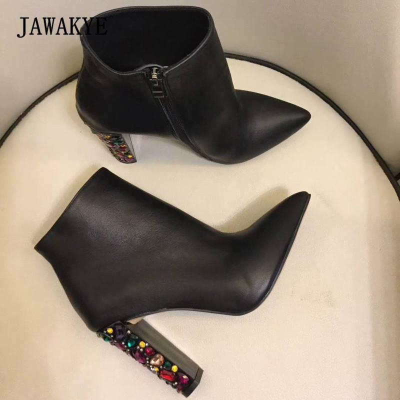 2018 Chic Real Leather Ankle Boots Woman Pointed Toe Mix Color Rhinestone Diamond Crystal High Heel Boots Women Party Shoes winter female woman round high engraving heel mid high rhinestone crystal buckle black real leather boots pointed toe shoe 1118