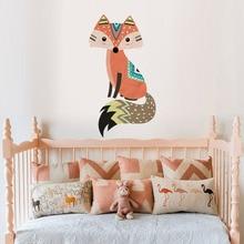 Cute Woodland Fox Wall Sticker Removable Vinyl God Tribal Fox jungle animals Decal For Kids Room Nursery Art murals wall Decor цена