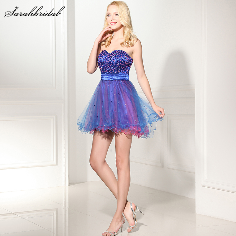 Charming Ever Pretty Homecoming Dresses Strapless Lace-up Sleeveless Tulle Covered Sequins Party Cocktail Dresses SLD101