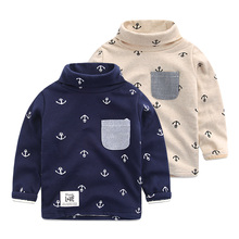 The boy more add wool fleece Children's wear winter 2016 children new T-shirt coat baby turtle neck render unlined upper garment