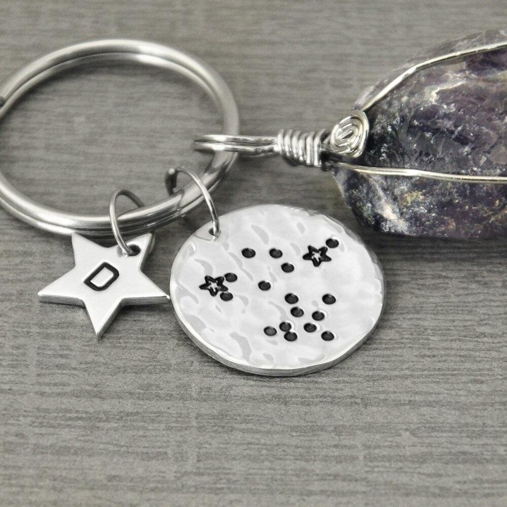 Custom Sagittarius Key Chain Zodiac Sign Jewelry Sagittarius Key Rings Zodiac Constellation KeyChain Hammered Key Chain