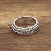 Woven Band Design Spinner Ring Men 100 Real Sterling Silver 925 Ring Simple Style Cool Men