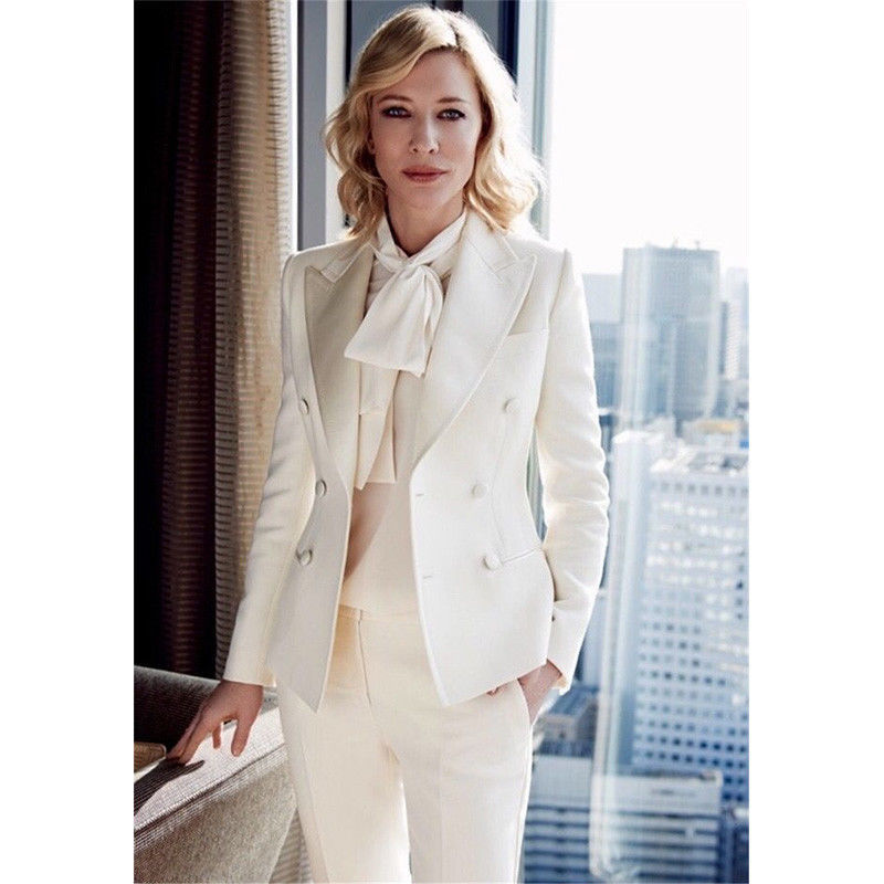 Ivory Womens Trouser Suit Formal Ladies Business Office Work Suits Female Blazer Tuxedos Suits For Wedding Outfit