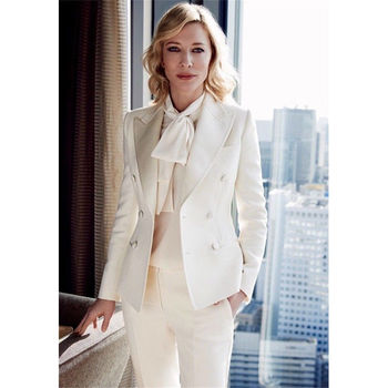 Ivory Womens Trouser Suit Formal Ladies Business Office Work Suits Female Blazer Tuxedos Suits for wedding outfit customized womens pants suit business suits female blazer uniform ladies formal trouser suit womens tuxedo rose red women suits