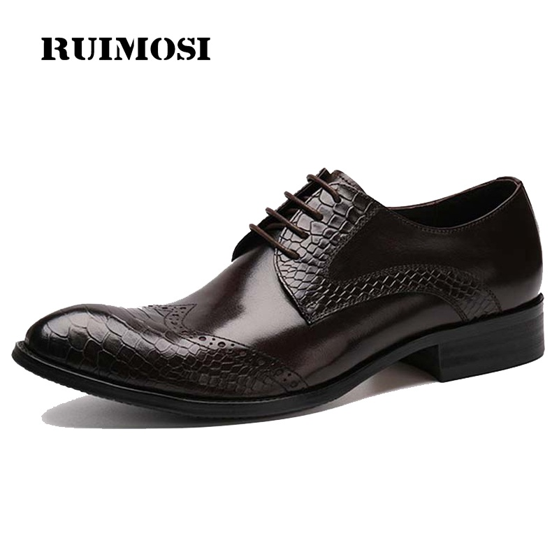 RUIMOSI British Crocodile Man Formal Dress Shoes Vintage Genuine Leather Brogue Oxfords Round Toe Men's Wing Tip Flats CE22