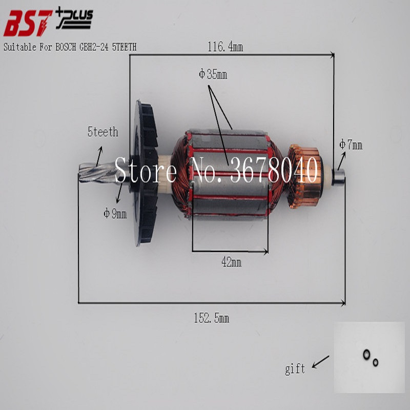 AC220V-240V ROTOR/ARMATURE SUITABLE FOR BOSCH GBH2-24 HAMMER 5TEETH carbon brush plate holder for bosch gbh2 26dfr gsb16re gsb19 2re gsb19 2rea hd21 2 gbh2 23re 11250vsrd gbh2 24d gbh2 26f
