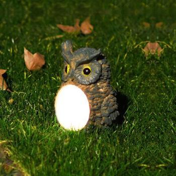 PIR Motio Sensor Solar Powered Night Light LED Owl Outdoor Waterproof Nightlights Figurines Garden Decoration Resin